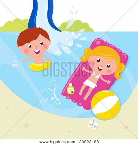 Two Children Swimming In The Pool.
