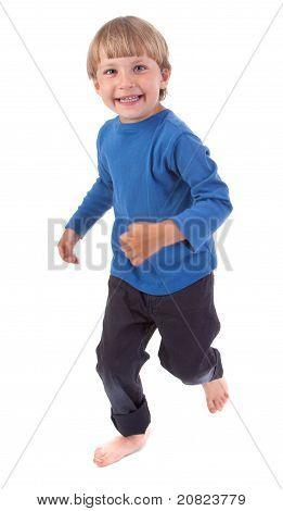Happy Boy Running Over White