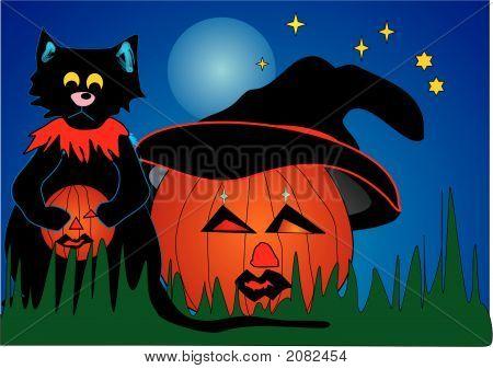 Halloween, A Cat And A Pumpkin Vector Eps