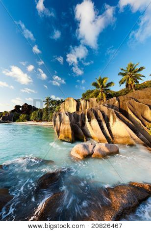 beach Anse Source d'argent at seychelles