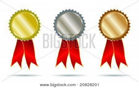 Gold Silver And Bronze Ribbons