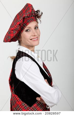 woman wearing traditional Scottish outfit