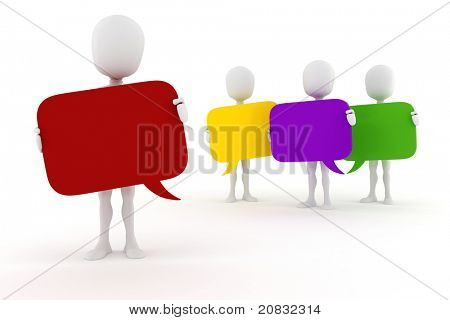 3d man holding colorful bubble chat