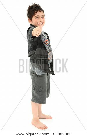 Young Boy Giving Thumbs Up Aproval Over White