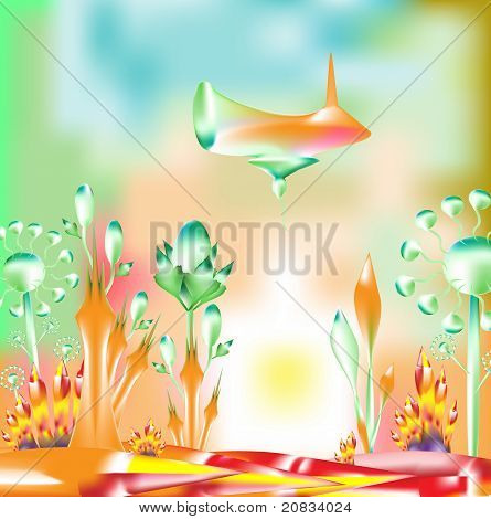 Abstract fantasy garden art illustration