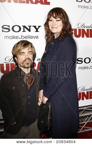 LOS ANGELES - APR 12: Peter Dinklage and wife Erica Schmidt at the World Premiere of 'Death At A Funeral' held at the Arclight Theater in Los Angeles, California on April 12, 2010.