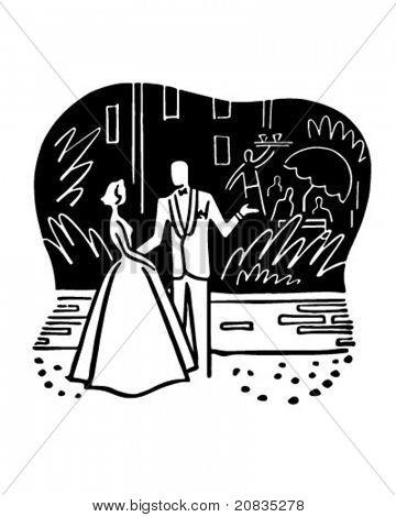 Couple Outside Nightclub - Retro Clipart Illustration