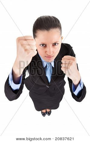 Funny Fighting Business Woman