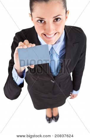 Businesswoman Shoving Business Card