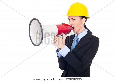 Architect Giving Orders On Megaphone