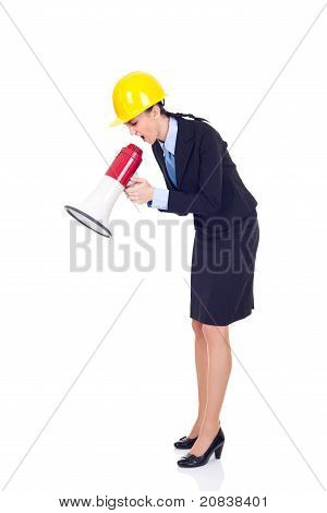 Angry Engineer Or Architect With Megaphone