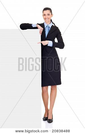 Business Woman Pointing Billboard