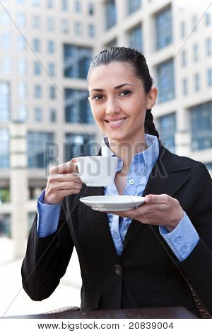 Business Lady Drinking Coffee