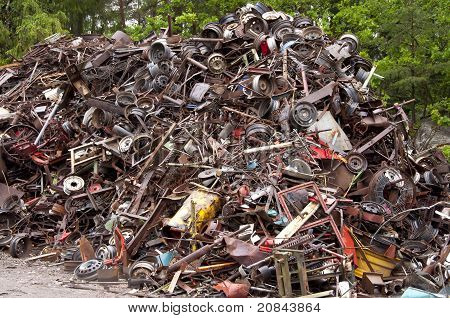 Huge pile of scrap metal junk
