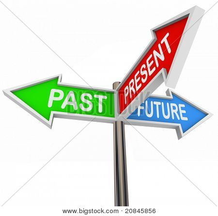 Three colorful arrow signs reading Past, Present and Future, depicting the choices and decisions involved in picking the right way and looking forward or backward