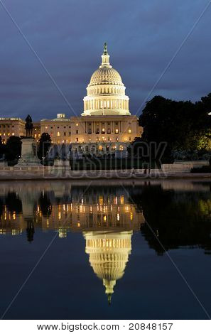 Washington DC - US Capitol building and its reflection on pool