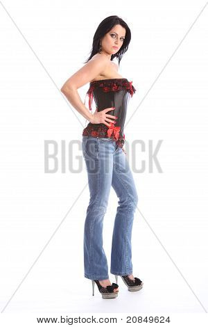 Beautiful Tall Model In Jeans And Sexy Corset