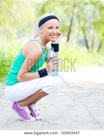 Sporty Woman Wit Water