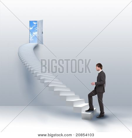 young man climbs the ladder of success