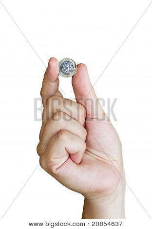 Hand Holding One Euro Coin, On White Background