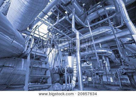 Industrial Zone, Steel Pipelines, Valves And Ladders