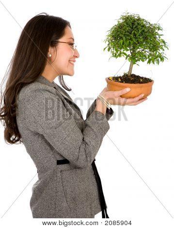 Mujer de negocios con un Bonsai