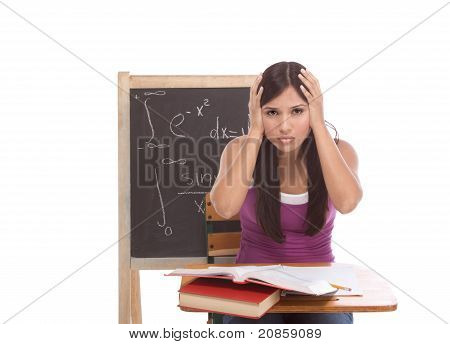 hispanic College Student Woman Studying for Math Exam