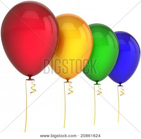 Birthday party balloons four colors