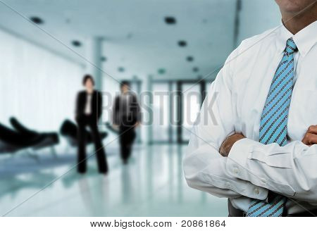 Modern design office with businessman