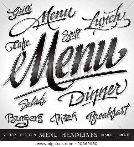 menu headlines set (vector)