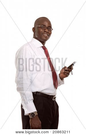 A young african american businessman with a cellphone, isolated on white