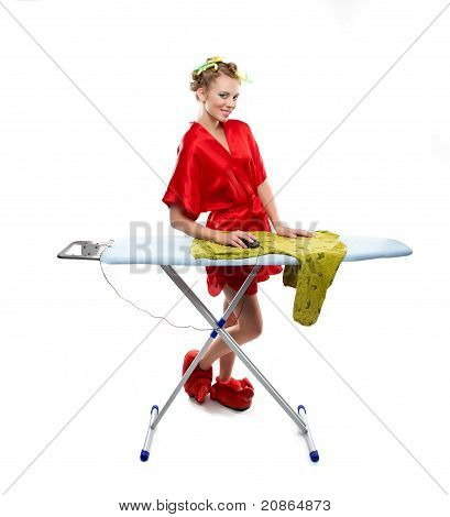 Woman Ironing Clothes With A Computer Mouse