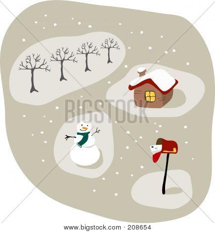 Winter Scene Cartoon