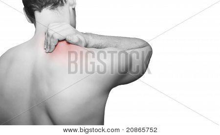 Man with back pain isolated on white