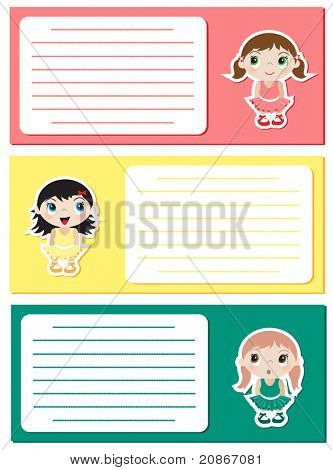 Baby Ballerina stickers on notes or invitations. Space for your text. EPS10 vector format.