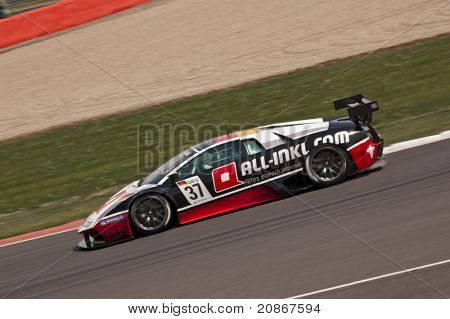 SILVERSTONE, ENGLAND - JUNE 4: Team All-INKL Racing Lamborghini Murcielago  Driver competing, at the GT1 Series Racing event at Silverstone RaceTrack on June 4, 2011 in Silverstone, England.