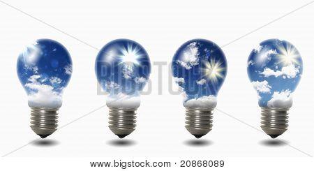 light bulb with sky inside