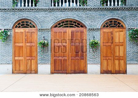Traditional Chinese house  with wooden arch doors and deck,architectural style of Ming and Qing Dynasties