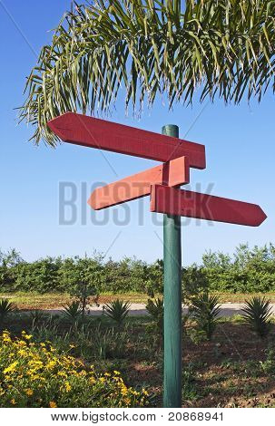 Plates Of Direction In Red Wood