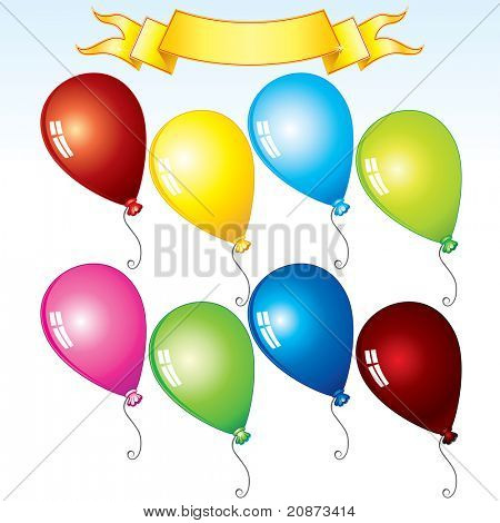 Happy Birthday Kit, colorful balloons and ribbon for your text