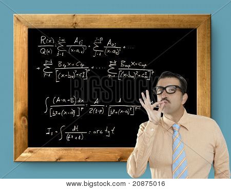 mathematical formula genius nerd geek easy resolve positive gesture