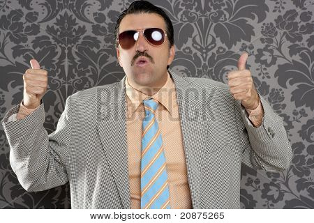 nerd retro man businessman ok positive hand gesture wallpaper background
