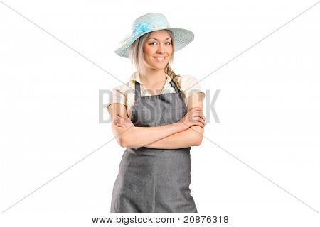 Portrait of a female manual worker posing isolated on white background