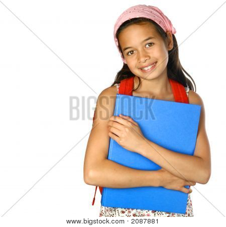 Young Schoolgirl With Blue Folder Isolated