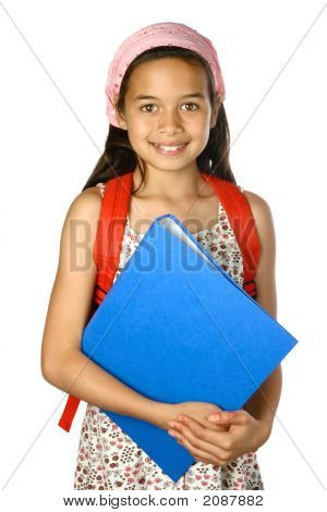 Young Schoolgirl With Blue Folder And Red Rucksack
