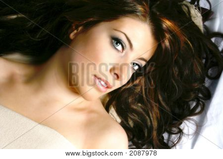 Beautiful Woman With Long Curly Dark Hair