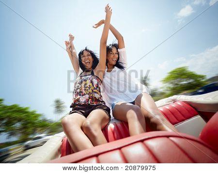 Beautiful Twin Sisters Having Fun In Cabriolet Car
