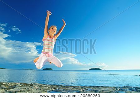Jump Girl And Sea