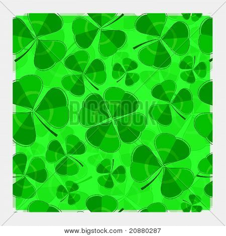 Multi-layered clover repeat pattern with central four leaf clover