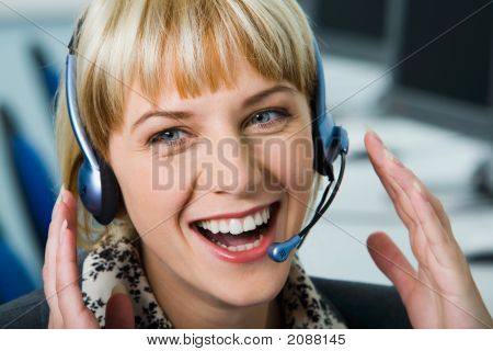 Laughing Woman With Headset